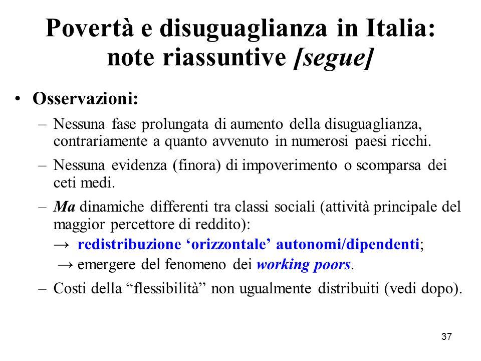 Povertà e disuguaglianza in Italia: note riassuntive [segue]